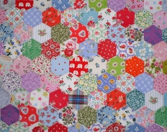 100 Tacked Hexagons for Patchwork, inc. Laura Ashley & Cath Kidston Fabrics