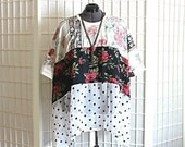 Revamp Sale Floral Tunic Top Bohemian Shirt Polka dot Roses Sheer Spring Clothing Plus Size 2x 3x