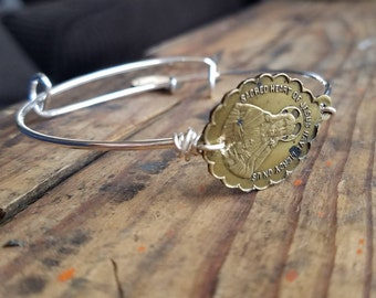 Vintage Religious Medal Expandable Bangle Bracelet Catholic  Christian Blessed Mother Miraculous Medal Sacred Heart of Jesus Mary Jewelry