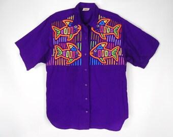Mens Button Up Shirt/ Fish Shirt/ Panama Mola/ Guatemalan Clothing/ 90s Button Up Shirt/ Hawaiian Shirt Men/ Tropical Shirt/ Neon Shirt