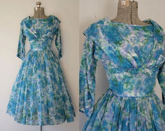 1950's Floral Chiffon Party Dress / Size XSmall