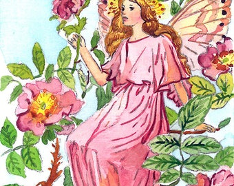 ACEO Limited Edition 1/25-Wild rose flower fairy inspired by Cicely Mary Barker, Flower fairy, Art print of original ACEO watercolor
