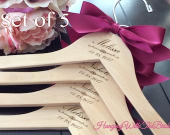 Set of 5 Wedding dress hanger, Wooden Engraved HangerCustom Bridal Hangers,Bridesmaids gift, Wedding hangers with names,Custom made hangers