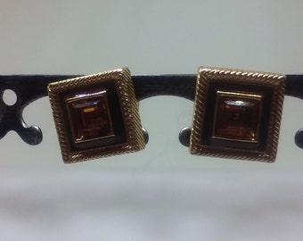Swarovski Swan Logo Amber Crystal Earrings
