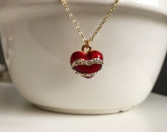 Heart Enamelled Necklace - Gold Heart Necklace - jewelry -   Personalized Jewelry - Valentine jewelry