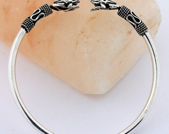 Frog Bali Style Bangle Bracelet - Handmade 925 Sterling Silver Bangle Jewelry