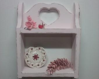Shabby Chic Decor,Heart Shelf,County Home Decor,Pink Decor,Pink Shelf,Country Decor,Shabby Chic Wall Decor,Pink Wall Decor