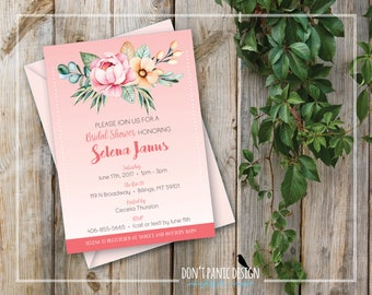 Printable Bridal Shower Invitation - Beautiful Pink Floral Bridal Shower Invitation - Peony Invitation - Outdoor Garden Party - Custom Color