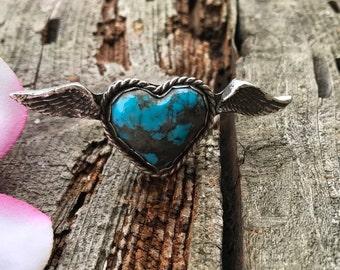 Turquoise Ring, Turquoise Jewelry, Kingman Turquoise jewelry, Turquoise Ring, Sterling Silver Ring - Winged Heart Kingman Turquoise Ring