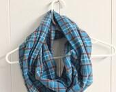 Flannel Infinity Scarf, Loop Scarf, Fashion Scarf