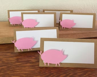 12  Pig name  place cards, birthday party place cards, Pig name cards, Pig table cards, Wedding name place cards