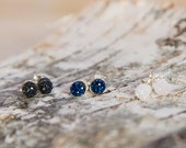 Tiny sterling silver druzy stud earrings, sparkly crystal earrings, small round stone earrings, cobalt blue, black, white post earrings