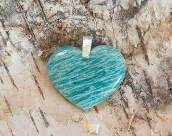 Amazonite heart pendant, turquoise color large stone heart pendant, sterling silver heart pendant, Mother's day gift, Valentine gift