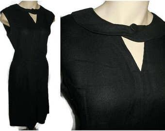 Vintage 1950s Dress Black Irish Linen Wiggle Dress Unique Cutout Neckline Rockabilly Mad Men Little Black Dress Taylor Town M L chest 41 in