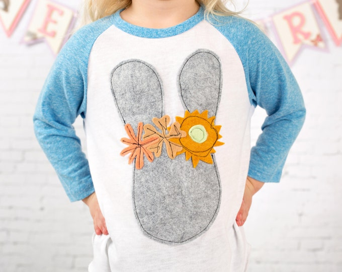 "Swanky Shank ""Bunny in Bloom"" Baseball tee; Easter Tee"