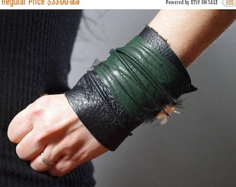 SUMMER SALE Twisted Leather Cuff Bracelet - Leather Cuff Bracelet - Leather Cuff - Green Leather Cuff Bracelet - Leather Jewelry