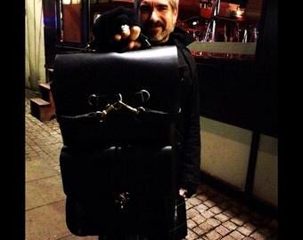 Black Backpack/Many Pockets Backpack/Black Backpack/Weekend Travel Backpack/Handmade Leather Bags/Overnight Backpacks