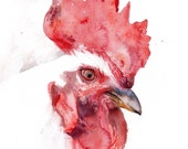 Rooster watercolor portrait, original art, reserved for S