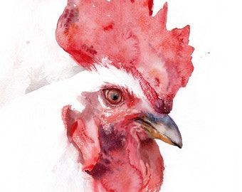 Rooster watercolor portrait, giclee print chicken
