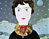 Original Art, Collage, Portrait of a Lady, Winter, Naive Art, Recycled, Portrait, Snow, North, England, Amanda White Design, Cut Paper