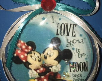 I love you to the moon and back again mickey and minnie ornament
