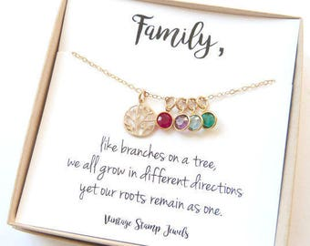 Family Tree Necklace,Mom Birthstone Jewelry,Mothers Day from Husband, Children's Birthstones, Gift for her,Original charm