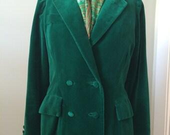 Women's Vintage Clothing / 1970's Green Velvet Double Breasted Jacket / St. Patricks Day Attire