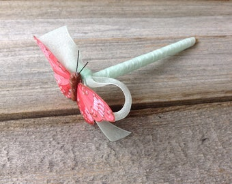 Coral Butterfly Wedding Guest Book PEN Coral Pink and Mint Green Quinceanera