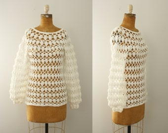 1970s crochet tunic | vintage 70s white crocheted sweater