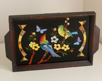 Butterfly Wing & Reverse Painted Vintage Bird Patterned Tray