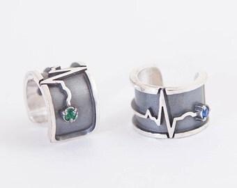 Cardio ear cuff | Silver ear cuff | gamestone ear cuff