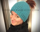 Women's running hat, ponytail hat, messy bun hat, athletic hat, crochet
