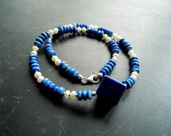 Necklace, lapis lazuli, freshwater pearl, cube, blue, necklace, jewelry
