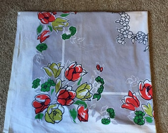 "Vintage Mid Century Grey and Red Floral Border Design Cotton Tablecloth (44 by 50"")"