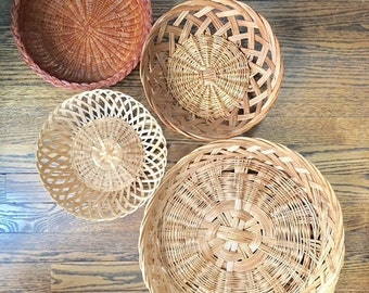 Boho Vintage Set of Wicker Rattan Wall Hanging Baskets