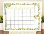 Floral Monthly Calendar - Printable Wall Calendar - Yellow and Blue Decor - Dry Erase Calendar - Printable Calendar - Daisy Calendar - 16x20