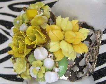 Hand Designed Bracelet, Vintage Jewelry Assemblage, Yellow Floral, White, Green, OOAK, Bold Statement Bracelet