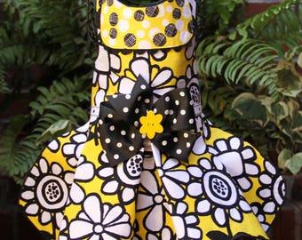 SAMPLE SALE:  Yellow & Black Floral Dog Dress