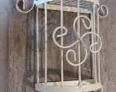 Vintage Metal Hanging Planter, Wall Basket, Flower Frog, Wall Decor, Mexico Metal Decor