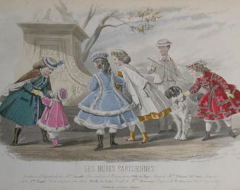 vintage Victorian ladies fashion colored print