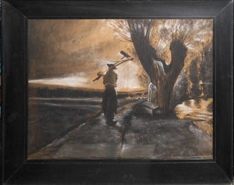 vintage art on paper  19th century farmer with scythe and rake  end of day   drawing and chalk