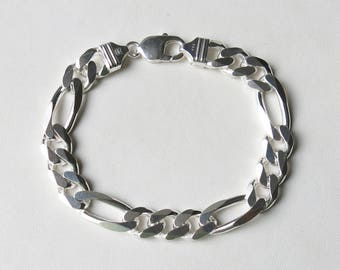 Men's sterling silver figaro bracelet