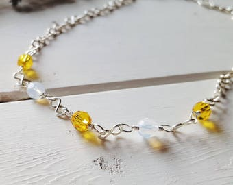 Susan - Sunshine Yellow & White Opal Silver Crystal Necklace, Ready to Ship