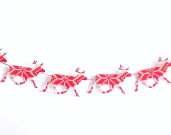 Red Reindeer Garland - Christmas Reindeer Garland - Christmas Garland - Reindeer Bunting - Christmas Decoration - Holiday Wall Decor
