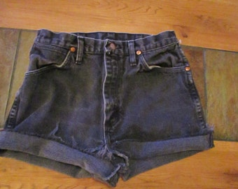 Wrangler CUTOFF JEAN SHORTS Cut Off W 28 Measured Hot Pants High Waisted