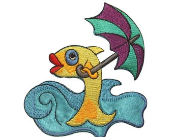 ID 0229 Fish Holding Umbrella Patch Ocean Waves Fishing Iron On Applique
