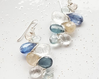 Sterling Silver, Smoky Quartz, Moss Aquamarine, Kyanite, Black Rutilated Quartz & Golden Rutilated Quartz Woven Earrings