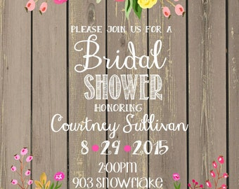 12 Shabby Chic Floral Bridal Wedding Shower Invitations invites
