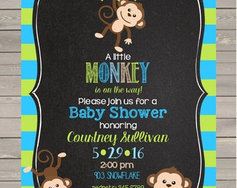 Monkey Baby Shower Invitations with envelopes  chalk- chalkboard - ANY COLORS- little monkey