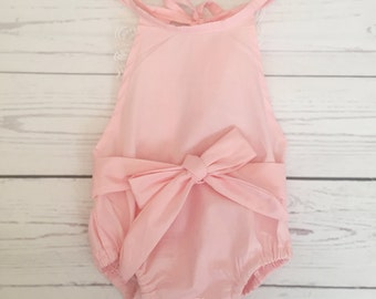 Pink baby romper-baby romper-baby bubble romper-sunsuit-ruffle romper-lace romper-cotton romper-baby outfit-vintage baby outfit